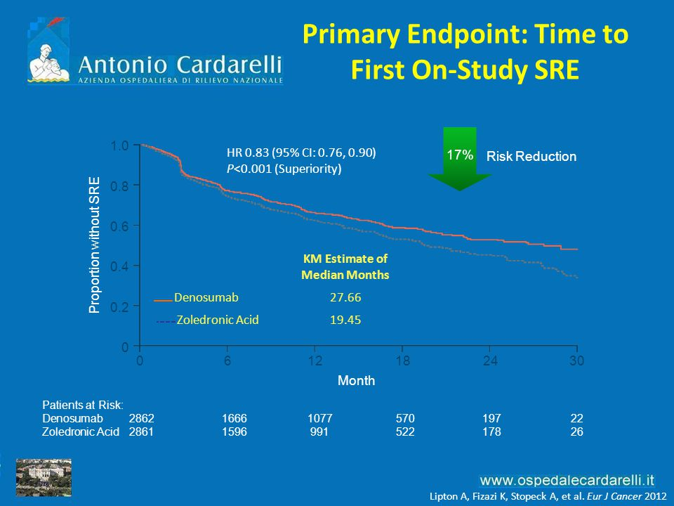 Primary Endpoint: Time to First On-Study SRE Patients at Risk: Denosumab28621666107757019722 Zoledronic Acid2861159699152217826 Month 0612182430 Proportion without SRE 1.0 0.8 0.6 0.4 0.2 0 HR 0.83 (95% CI: 0.76, 0.90) P<0.001 (Superiority) KM Estimate of Median Months Denosumab27.66 Zoledronic Acid19.45 Risk Reduction 17% Lipton A, Fizazi K, Stopeck A, et al.