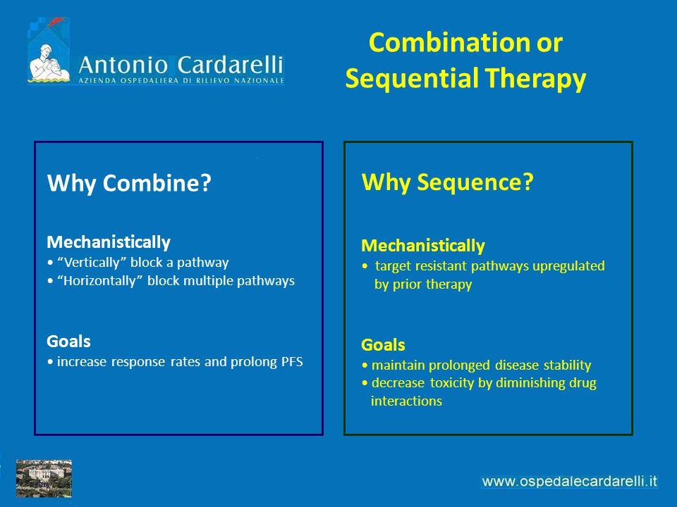 """Why Combine? Mechanistically """"Vertically"""" block a pathway """"Horizontally"""" block multiple pathways Goals increase response rates and prolong PFS Why Seq"""