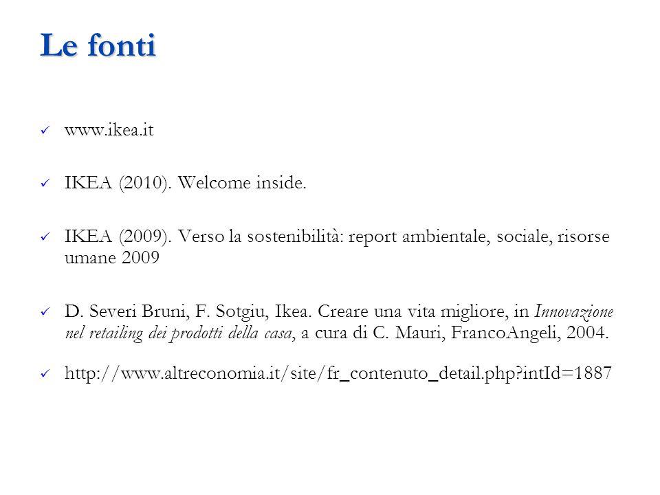 Le fonti www.ikea.it IKEA (2010). Welcome inside. IKEA (2009). Verso la sostenibilità: report ambientale, sociale, risorse umane 2009 D. Severi Bruni,