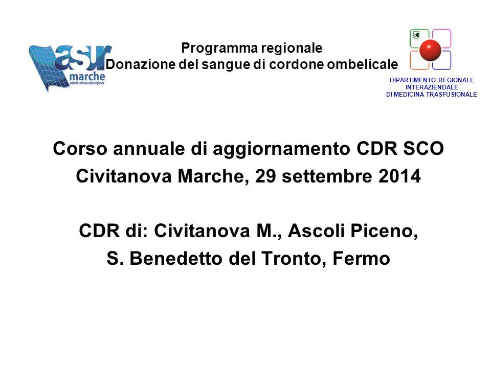 Programma regionale Donazione del sangue di cordone ombelicale Corso annuale di aggiornamento CDR SCO Civitanova Marche, 29 settembre 2014 CDR di: Civ