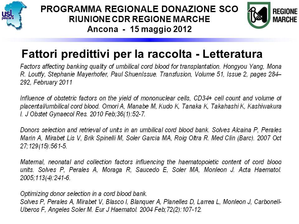 Fattori predittivi per la raccolta - Letteratura PROGRAMMA REGIONALE DONAZIONE SCO RIUNIONE CDR REGIONE MARCHE Ancona - 15 maggio 2012
