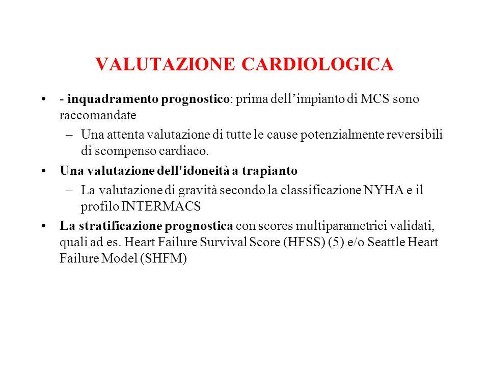 VALUTAZIONE CARDIOLOGICA - inquadramento prognostico: prima dell'impianto di MCS sono raccomandate –Una attenta valutazione di tutte le cause potenzia