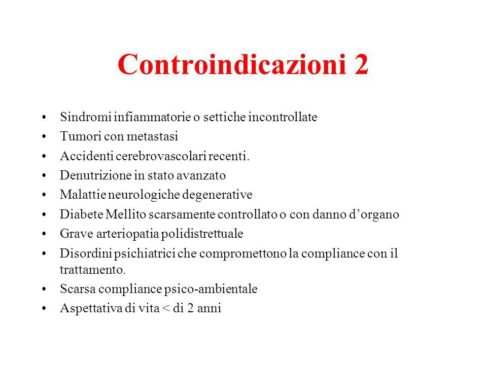 Controindicazioni 2 Sindromi infiammatorie o settiche incontrollate Tumori con metastasi Accidenti cerebrovascolari recenti. Denutrizione in stato ava