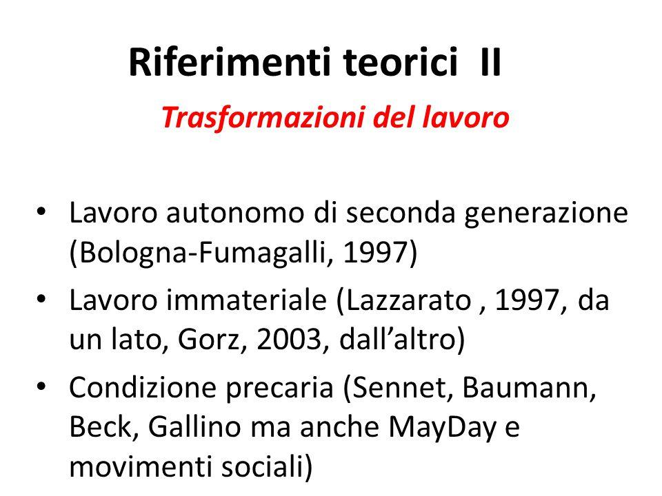 Riferimenti teorici II Trasformazioni del lavoro Lavoro autonomo di seconda generazione (Bologna-Fumagalli, 1997) Lavoro immateriale (Lazzarato, 1997, da un lato, Gorz, 2003, dall'altro) Condizione precaria (Sennet, Baumann, Beck, Gallino ma anche MayDay e movimenti sociali)