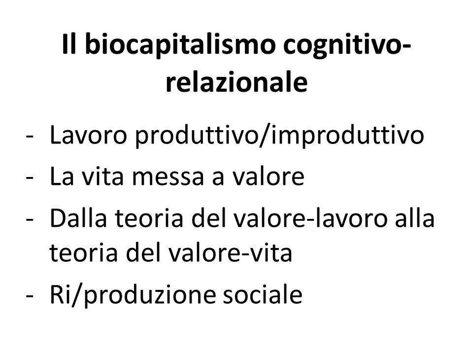Il biocapitalismo cognitivo- relazionale -Lavoro produttivo/improduttivo -La vita messa a valore -Dalla teoria del valore-lavoro alla teoria del valore-vita -Ri/produzione sociale