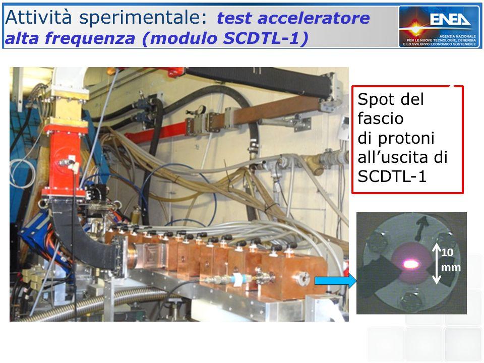 Attività sperimentale: test acceleratore alta frequenza (modulo SCDTL-1) Spot del fascio di protoni all'uscita di SCDTL-1 10 mm Output beam current