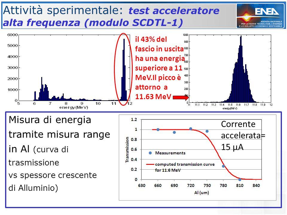 Misura di energia tramite misura range in Al (curva di trasmissione vs spessore crescente di Alluminio) Attività sperimentale: test acceleratore alta