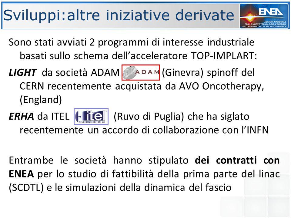 Sviluppi:altre iniziative derivate Sono stati avviati 2 programmi di interesse industriale basati sullo schema dell'acceleratore TOP-IMPLART: LIGHT da