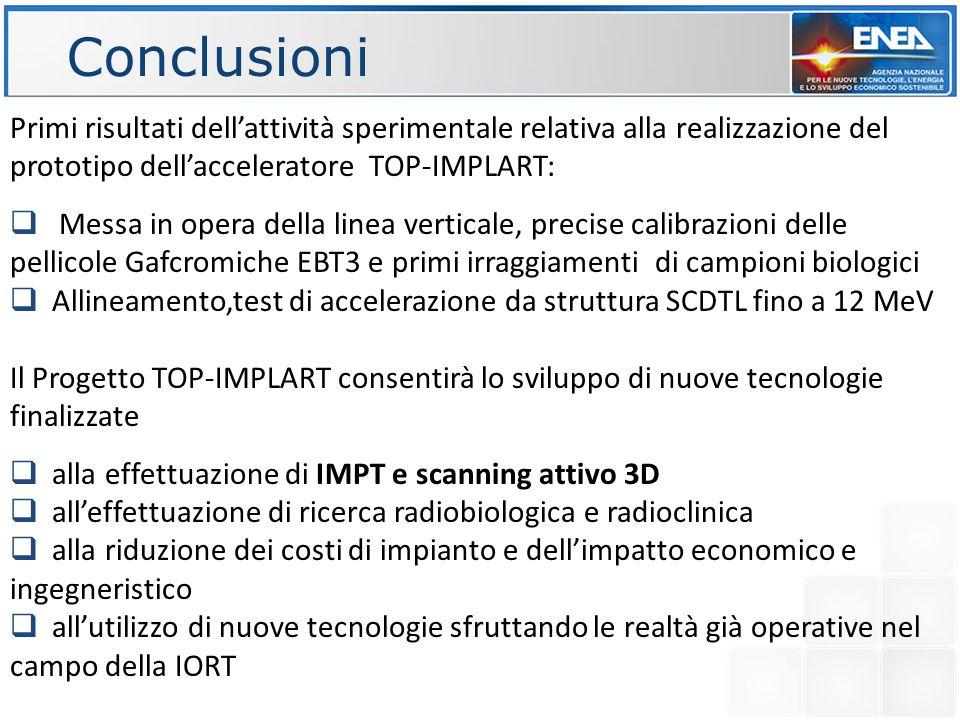 Conclusioni Primi risultati dell'attività sperimentale relativa alla realizzazione del prototipo dell'acceleratore TOP-IMPLART:  Messa in opera della