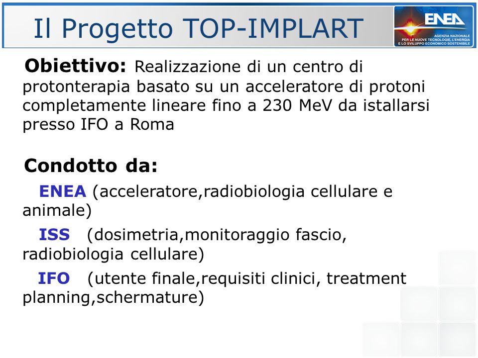 Il Progetto TOP-IMPLART Obiettivo: Realizzazione di un centro di protonterapia basato su un acceleratore di protoni completamente lineare fino a 230 M