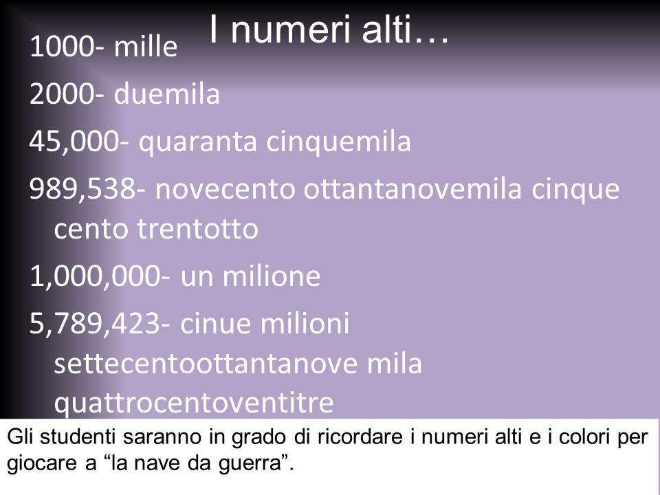 I numeri alti… 1000- mille 2000- duemila 45,000- quaranta cinquemila 989,538- novecento ottantanovemila cinque cento trentotto 1,000,000- un milione 5