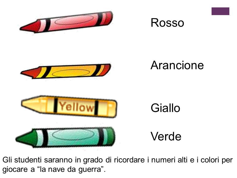 """Rosso Arancione Giallo Verde Gli studenti saranno in grado di ricordare i numeri alti e i colori per giocare a """"la nave da guerra""""."""