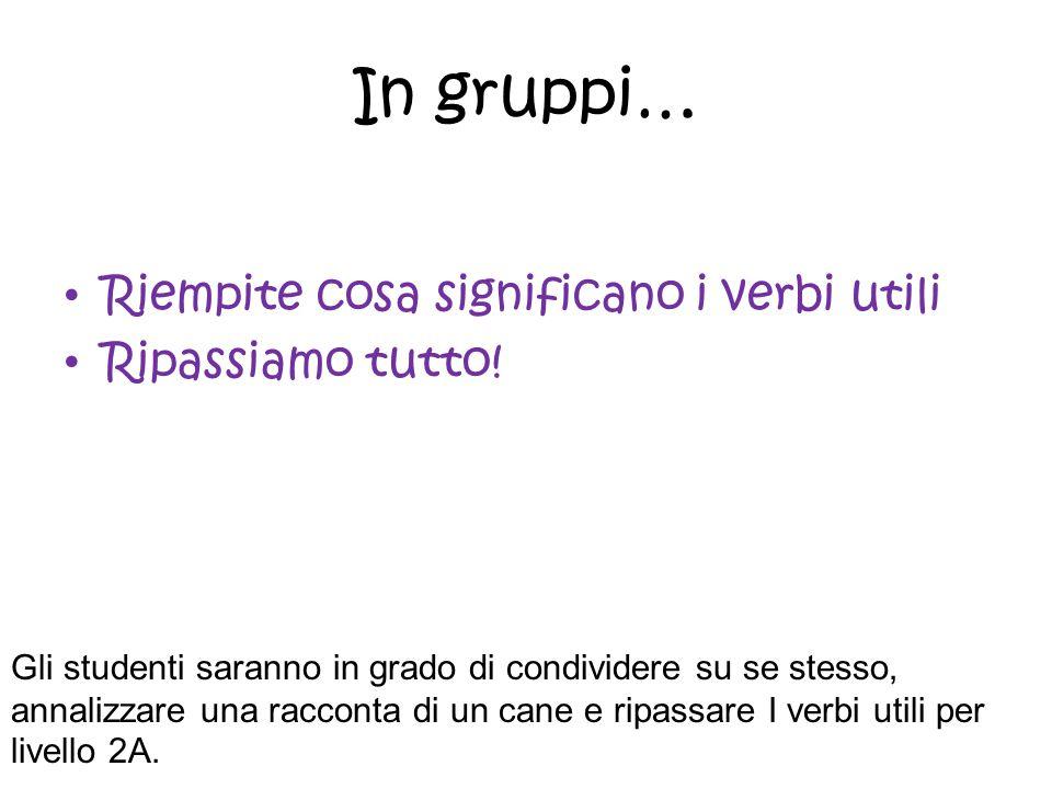 In gruppi… Riempite cosa significano i verbi utili Ripassiamo tutto! Gli studenti saranno in grado di condividere su se stesso, annalizzare una raccon