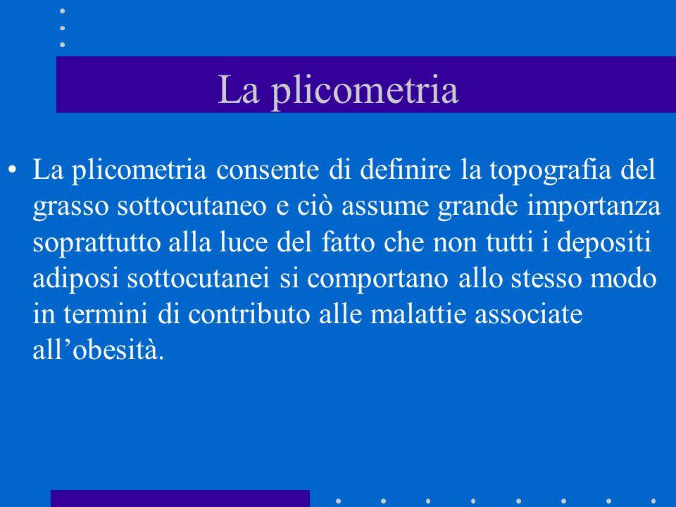 La plicometria La plicometria consente di definire la topografia del grasso sottocutaneo e ciò assume grande importanza soprattutto alla luce del fatt