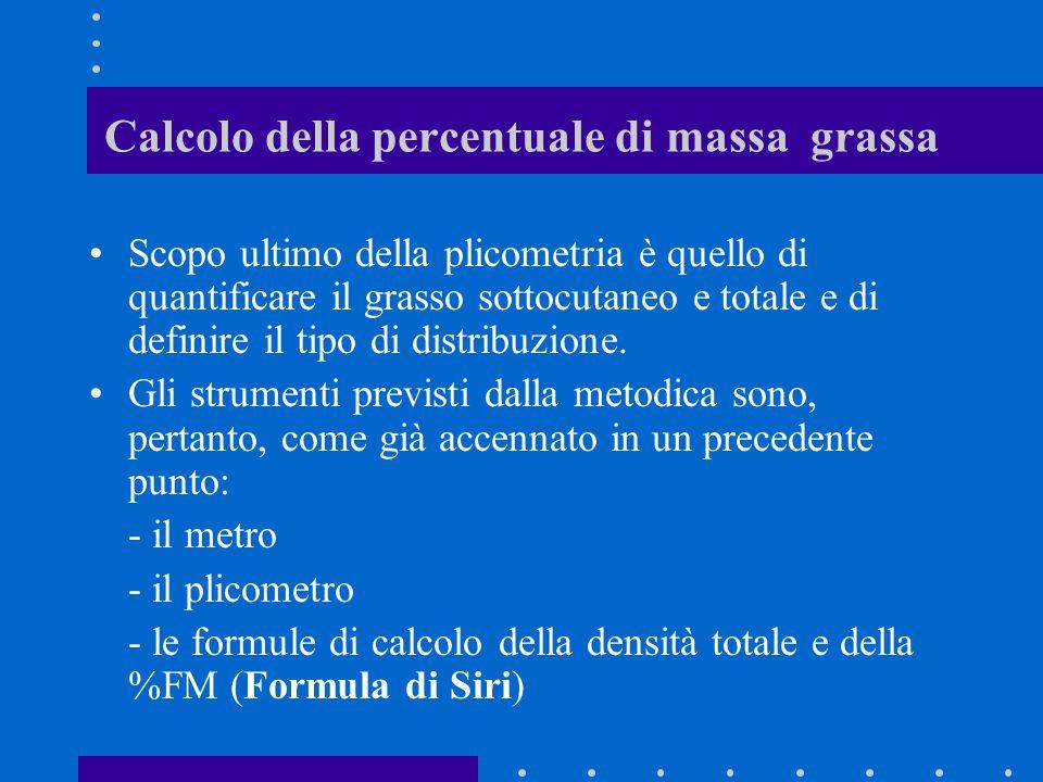 Calcolo della percentuale di massa grassa Scopo ultimo della plicometria è quello di quantificare il grasso sottocutaneo e totale e di definire il tip