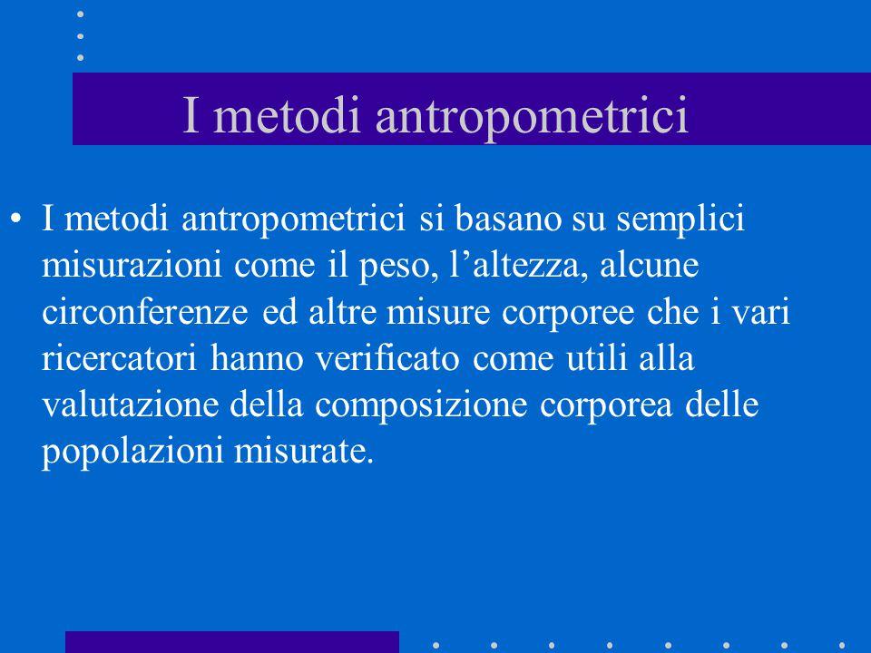 I metodi antropometrici I metodi antropometrici si basano su semplici misurazioni come il peso, l'altezza, alcune circonferenze ed altre misure corpor