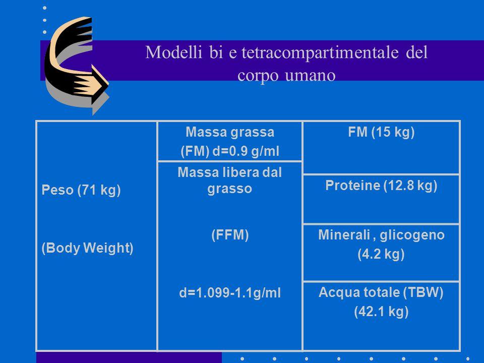 Modelli bi e tetracompartimentale del corpo umano Peso (71 kg) (Body Weight) Massa grassa (FM) d=0.9 g/ml Massa libera dal grasso (FFM) d=1.099-1.1g/m