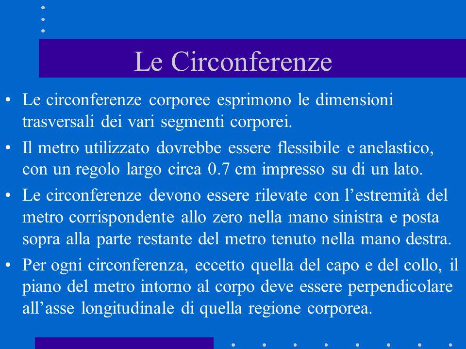 Le Circonferenze Le circonferenze corporee esprimono le dimensioni trasversali dei vari segmenti corporei. Il metro utilizzato dovrebbe essere flessib
