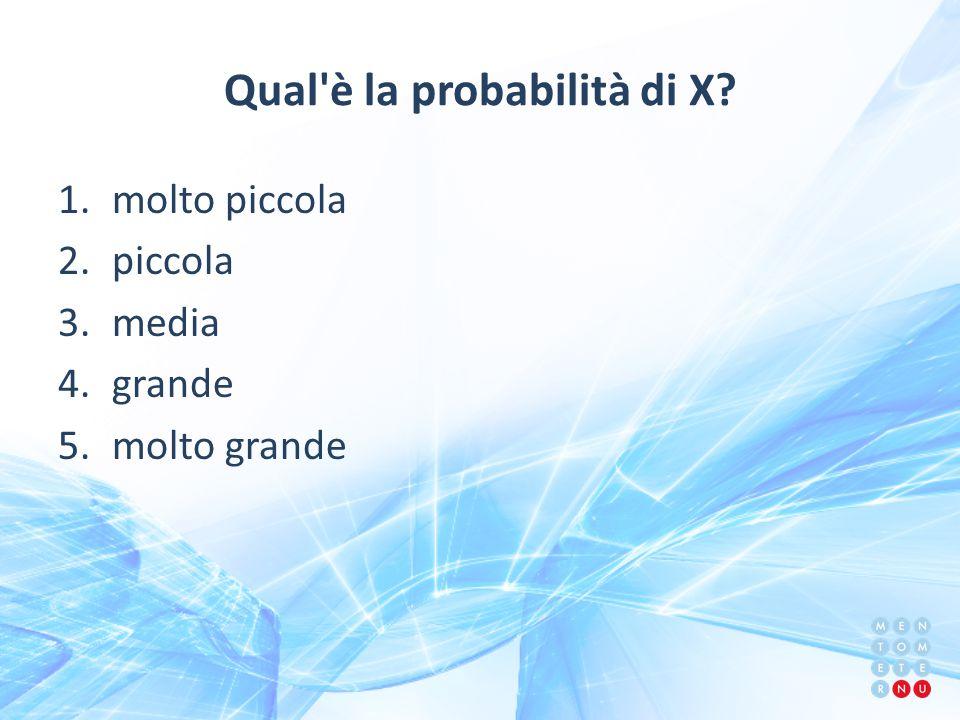 Qual è la probabilità di X? 1.molto piccola 2.piccola 3.media 4.grande 5.molto grande