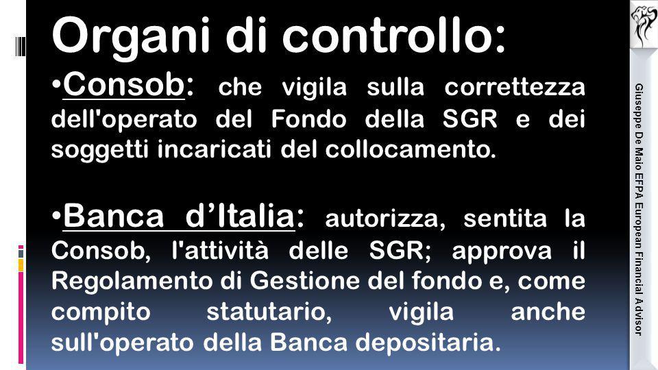 Giuseppe De Maio EFPA European Financial Advisor Organi di controllo: Consob: che vigila sulla correttezza dell'operato del Fondo della SGR e dei sogg