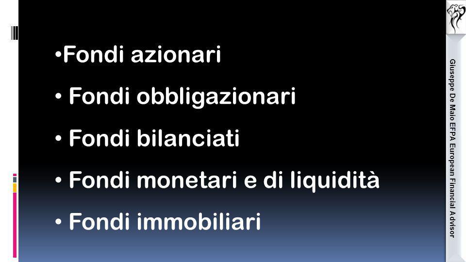 Giuseppe De Maio EFPA European Financial Advisor Fondi azionari Fondi obbligazionari Fondi bilanciati Fondi monetari e di liquidità Fondi immobiliari