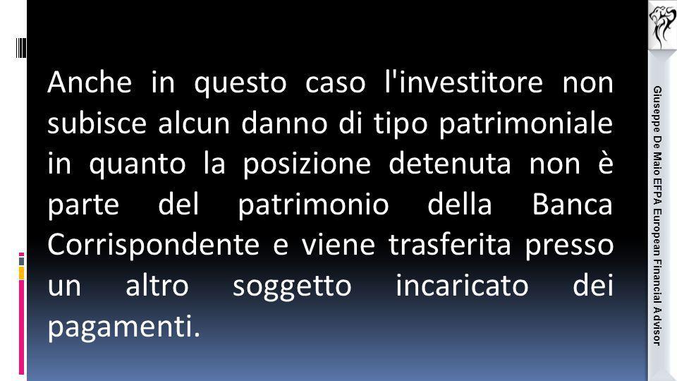 Giuseppe De Maio EFPA European Financial Advisor Anche in questo caso l'investitore non subisce alcun danno di tipo patrimoniale in quanto la posizion