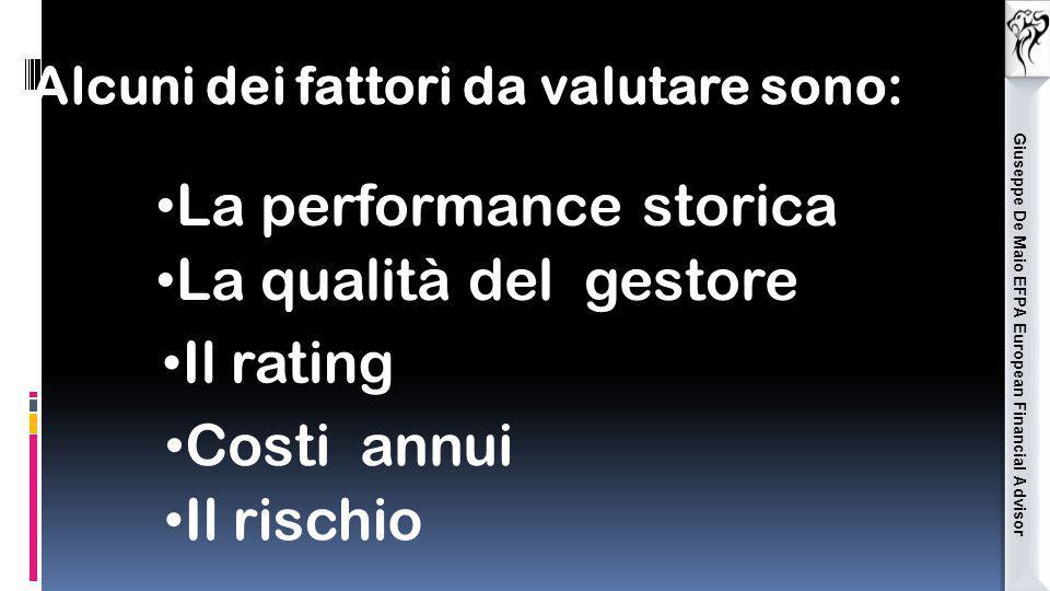 Giuseppe De Maio EFPA European Financial Advisor Alcuni dei fattori da valutare sono: La performance storica La qualità del gestore Il rating Costi an