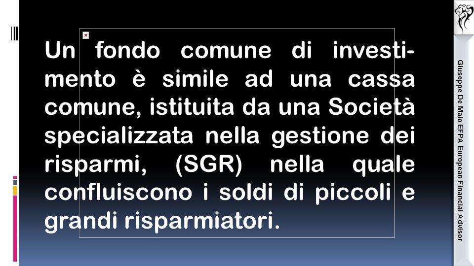 Giuseppe De Maio EFPA European Financial Advisor Un fondo comune di investi- mento è simile ad una cassa comune, istituita da una Società specializzat
