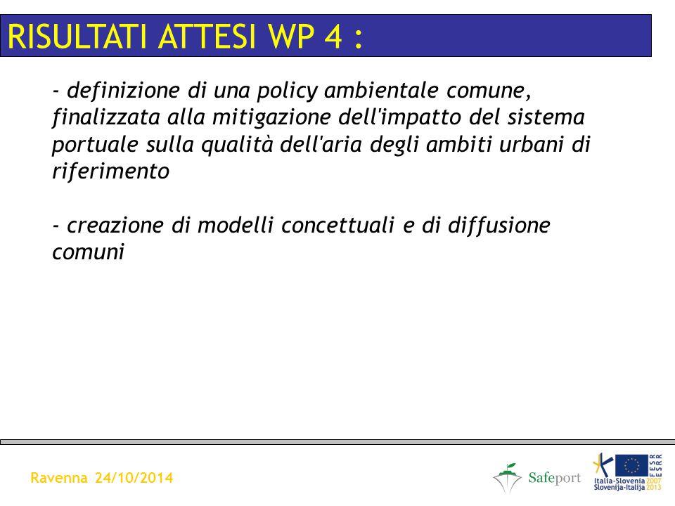 - definizione di una policy ambientale comune, finalizzata alla mitigazione dell impatto del sistema portuale sulla qualità dell aria degli ambiti urbani di riferimento - creazione di modelli concettuali e di diffusione comuni RISULTATI ATTESI WP 4 : Ravenna 24/10/2014