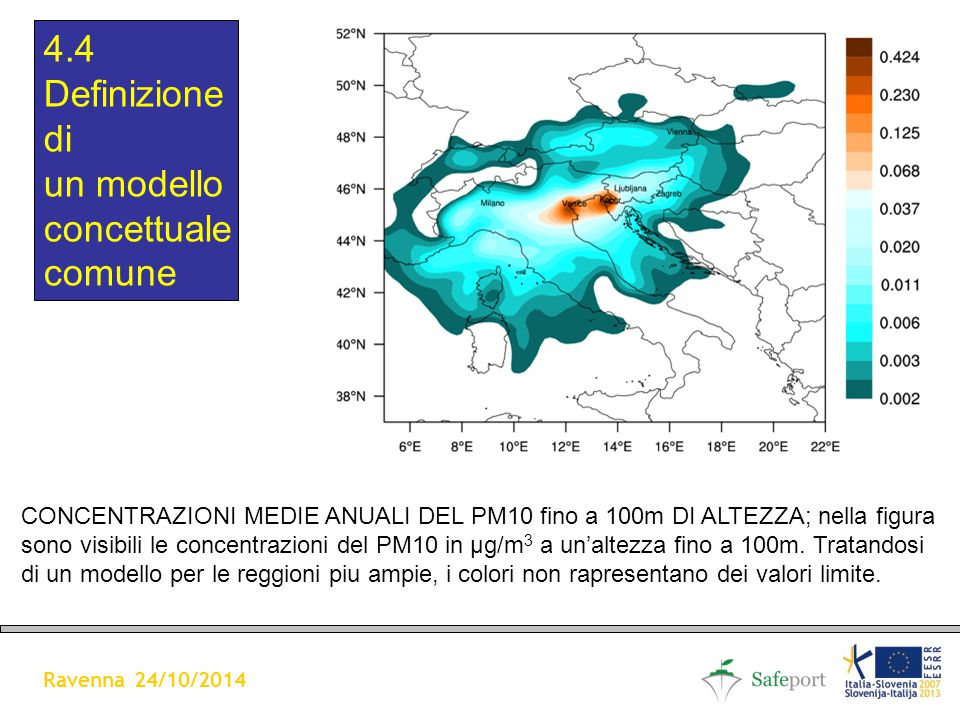 CONCENTRAZIONI MEDIE ANUALI DEL PM10 A 100m DI ALTEZZA (in µg/m3) 4.4 Definizione di un modello concettuale comune Ravenna 24/10/2014 CONCENTRAZIONI MEDIE ANUALI DEL PM10 fino a 100m DI ALTEZZA; nella figura sono visibili le concentrazioni del PM10 in µg/m 3 a un'altezza fino a 100m.