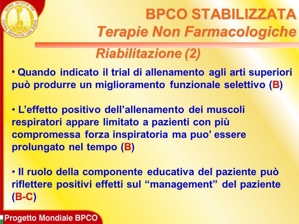 Riabilitazione (2) Quando indicato il trial di allenamento agli arti superiori può produrre un miglioramento funzionale selettivo (B) L'effetto positi