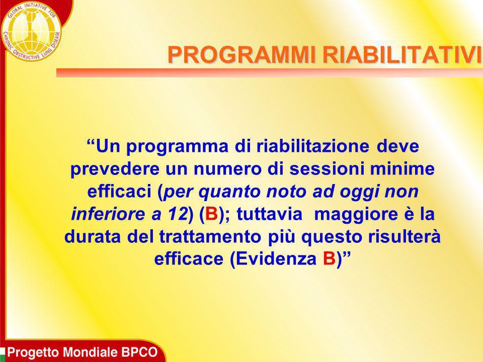 """PROGRAMMI RIABILITATIVI """"Un programma di riabilitazione deve prevedere un numero di sessioni minime efficaci (per quanto noto ad oggi non inferiore a"""