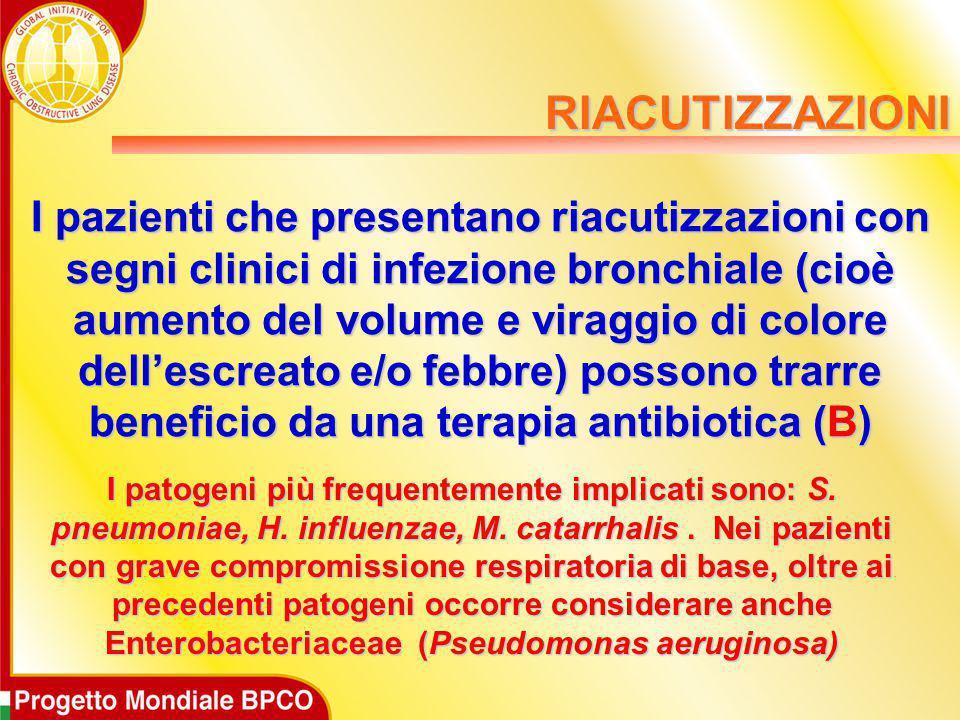 I pazienti che presentano riacutizzazioni con segni clinici di infezione bronchiale (cioè aumento del volume e viraggio di colore dell'escreato e/o fe