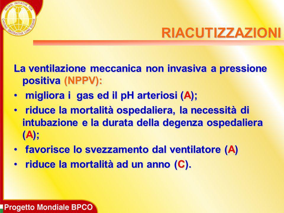 La ventilazione meccanica non invasiva a pressione positiva (NPPV): migliora i gas ed il pH arteriosi (A); migliora i gas ed il pH arteriosi (A); ridu