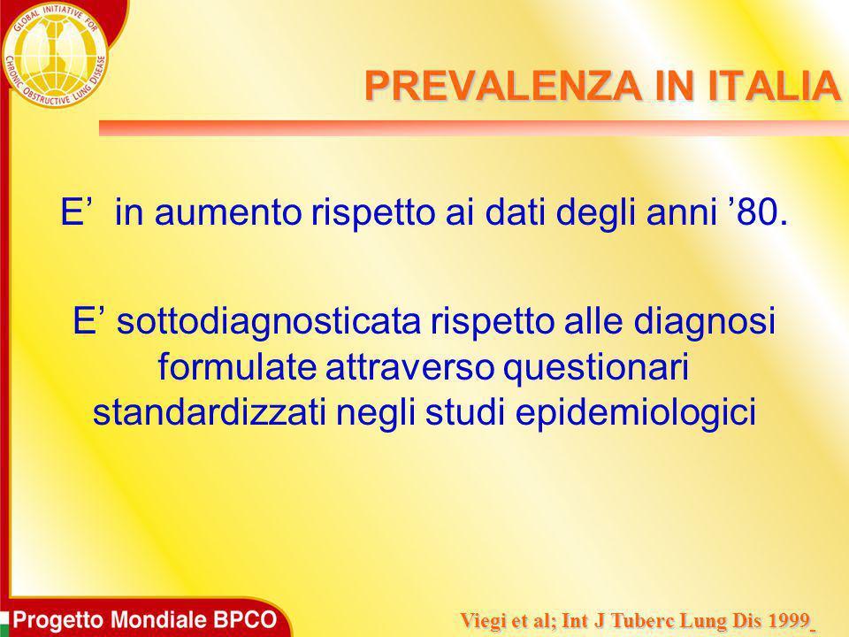 PREVALENZA IN ITALIA E' in aumento rispetto ai dati degli anni '80. E' sottodiagnosticata rispetto alle diagnosi formulate attraverso questionari stan