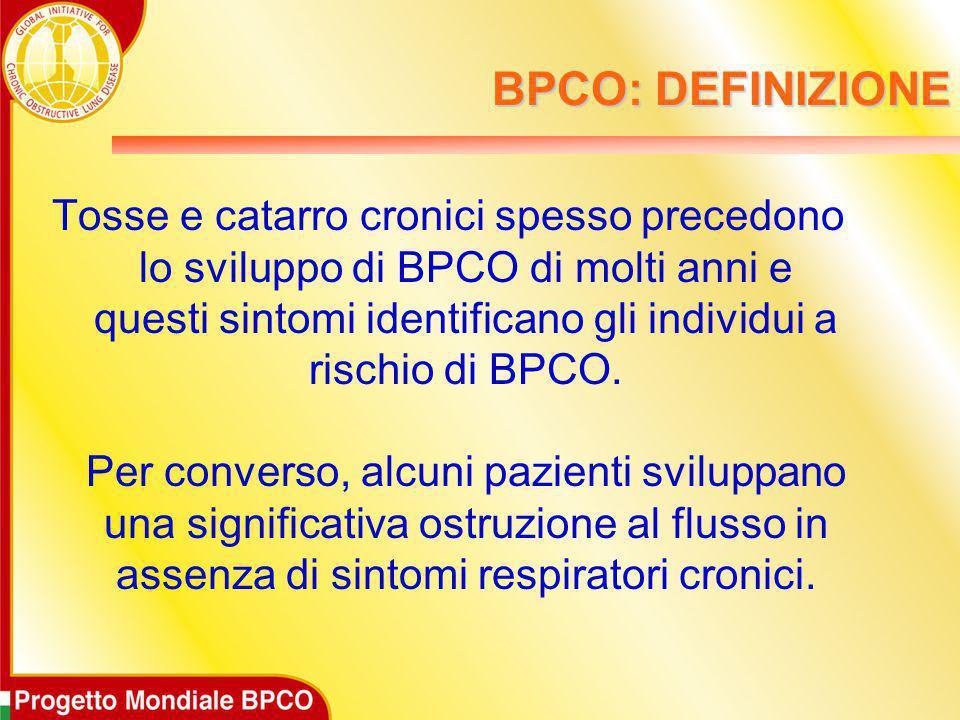 BPCO: DEFINIZIONE Tosse e catarro cronici spesso precedono lo sviluppo di BPCO di molti anni e questi sintomi identificano gli individui a rischio di
