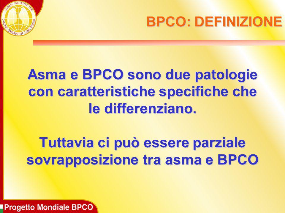 BPCO: DEFINIZIONE Asma e BPCO sono due patologie con caratteristiche specifiche che le differenziano. Tuttavia ci può essere parziale sovrapposizione
