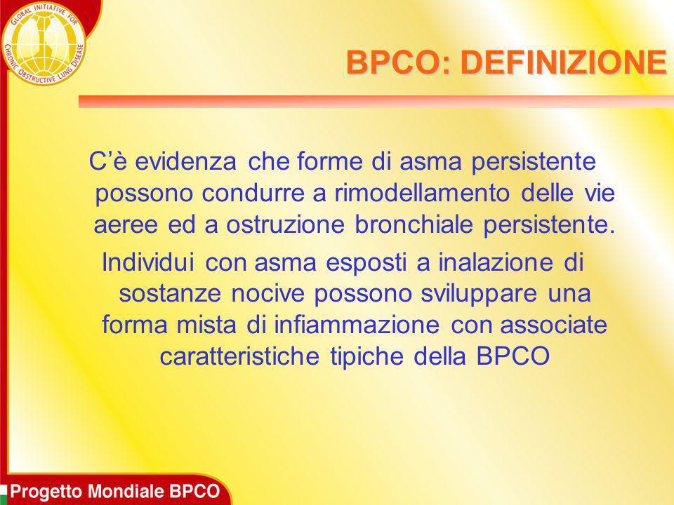 BPCO: DEFINIZIONE C'è evidenza che forme di asma persistente possono condurre a rimodellamento delle vie aeree ed a ostruzione bronchiale persistente.