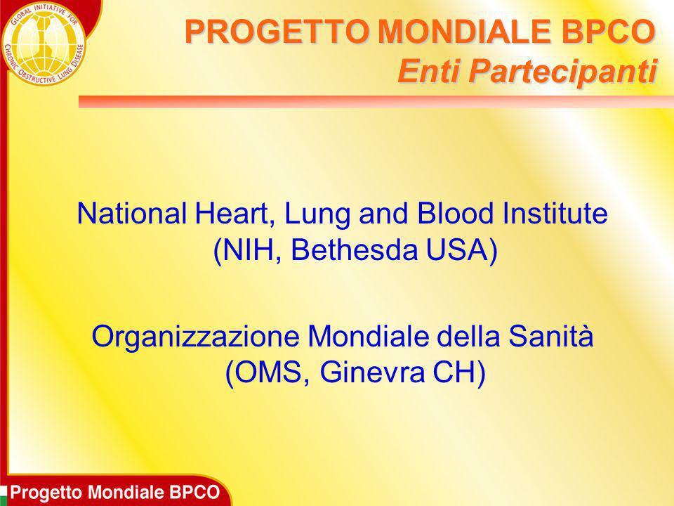 PROGETTO MONDIALE BPCO Enti Partecipanti National Heart, Lung and Blood Institute (NIH, Bethesda USA) Organizzazione Mondiale della Sanità (OMS, Ginev