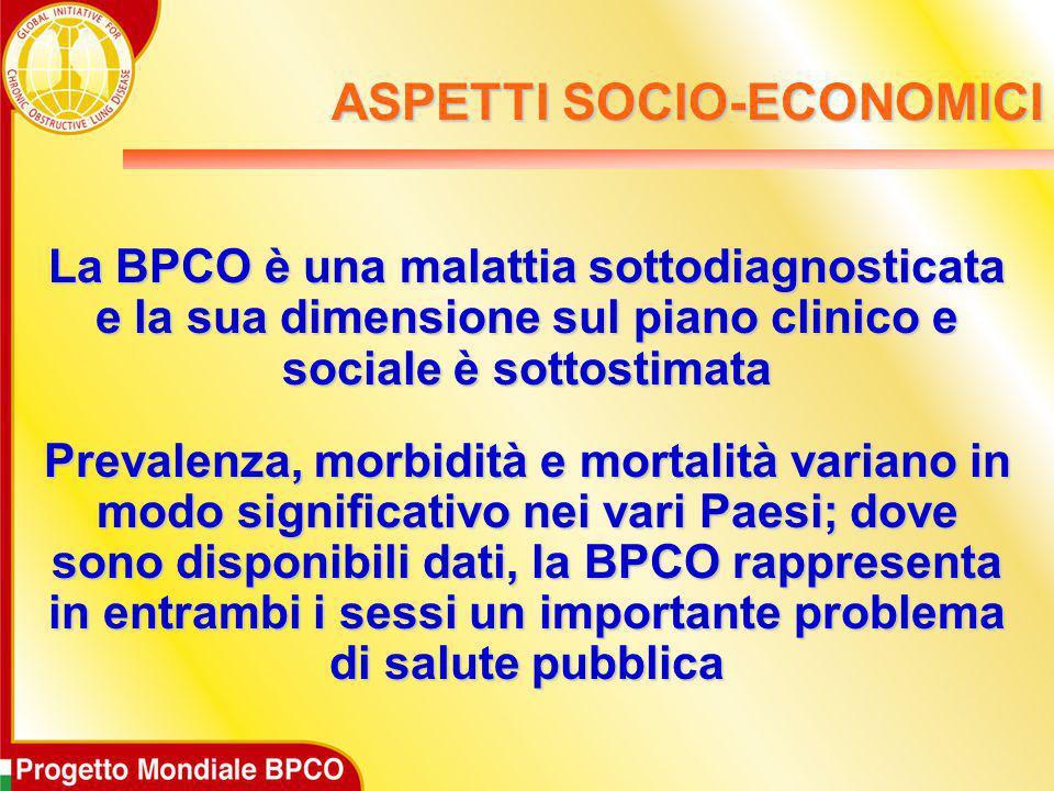 La BPCO è una malattia sottodiagnosticata e la sua dimensione sul piano clinico e sociale è sottostimata Prevalenza, morbidità e mortalità variano in