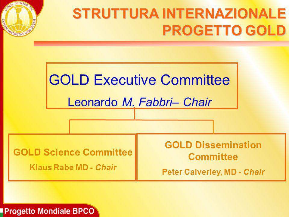 STRUTTURA INTERNAZIONALE PROGETTO GOLD GOLD Executive Committee Leonardo M. Fabbri– Chair GOLD Science Committee Klaus Rabe MD - Chair GOLD Disseminat