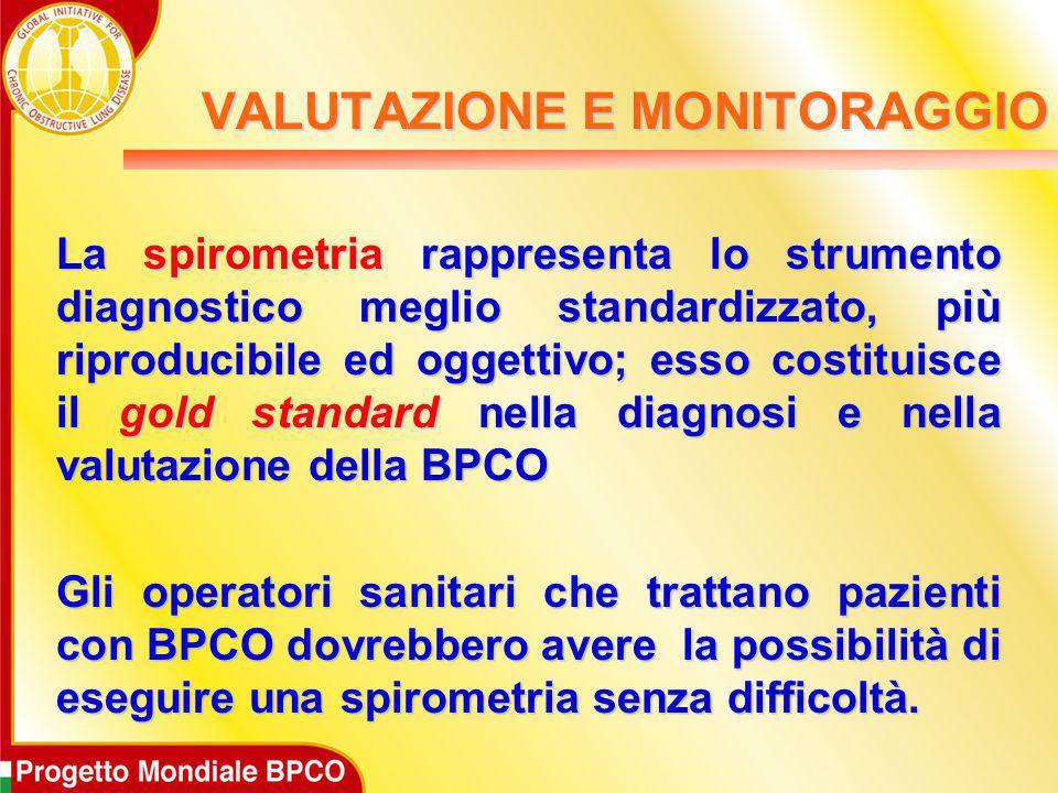 La spirometria rappresenta lo strumento diagnostico meglio standardizzato, più riproducibile ed oggettivo; esso costituisce il gold standard nella dia