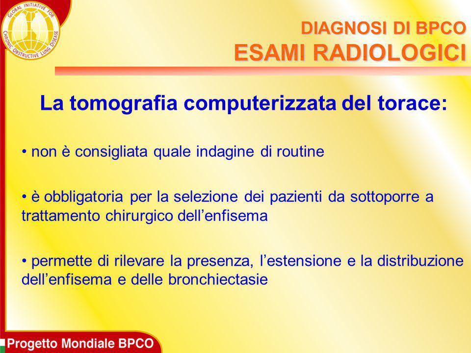 DIAGNOSI DI BPCO ESAMI RADIOLOGICI La tomografia computerizzata del torace: non è consigliata quale indagine di routine è obbligatoria per la selezion
