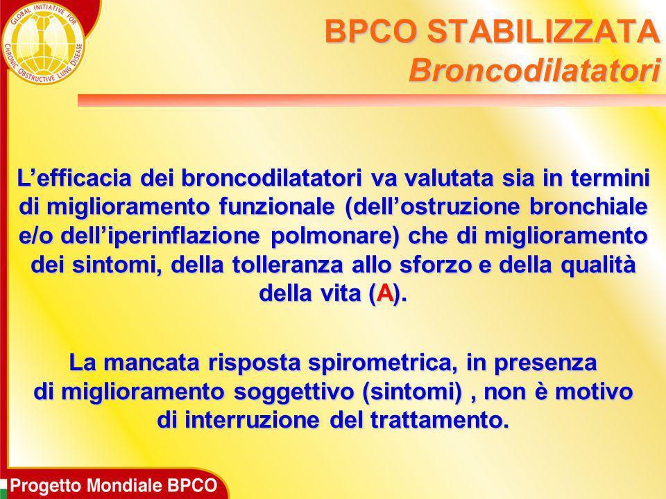 L'efficacia dei broncodilatatori va valutata sia in termini di miglioramento funzionale (dell'ostruzione bronchiale e/o dell'iperinflazione polmonare)