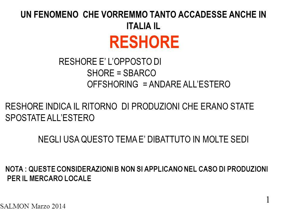 SALMON Marzo 2014 1 UN FENOMENO CHE VORREMMO TANTO ACCADESSE ANCHE IN ITALIA IL RESHORE RESHORE E' L'OPPOSTO DI SHORE = SBARCO OFFSHORING = ANDARE ALL'ESTERO RESHORE INDICA IL RITORNO DI PRODUZIONI CHE ERANO STATE SPOSTATE ALL'ESTERO NEGLI USA QUESTO TEMA E' DIBATTUTO IN MOLTE SEDI NOTA : QUESTE CONSIDERAZIONI B NON SI APPLICANO NEL CASO DI PRODUZIONI PER IL MERCARO LOCALE