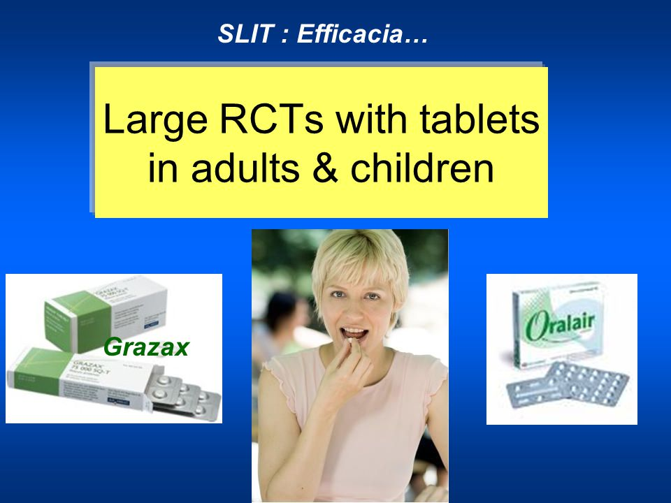 SLIT : Efficacia… Large RCTs with tablets in adults & children Grazax