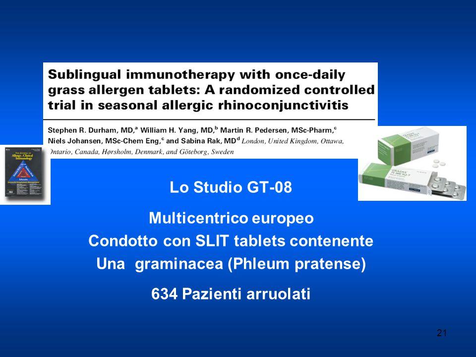 21 Lo Studio GT-08 Multicentrico europeo Condotto con SLIT tablets contenente Una graminacea (Phleum pratense) 634 Pazienti arruolati