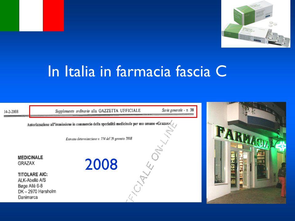 In Italia in farmacia fascia C 2008