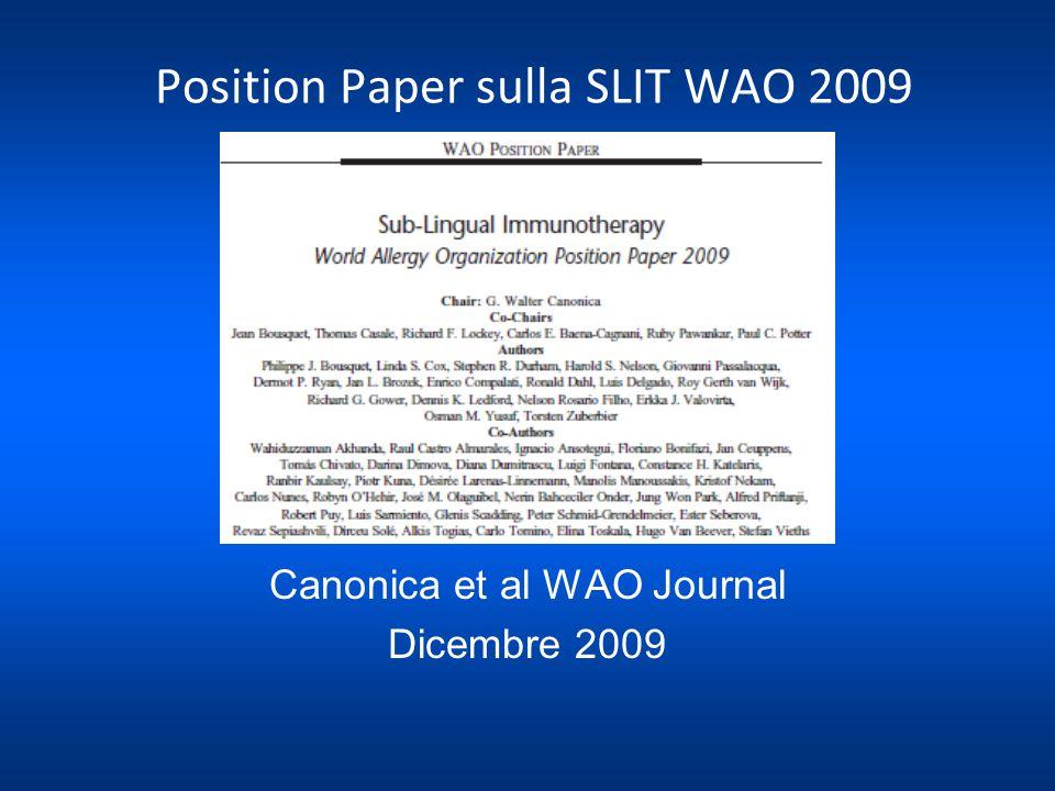 Position Paper sulla SLIT WAO 2009 Canonica et al WAO Journal Dicembre 2009