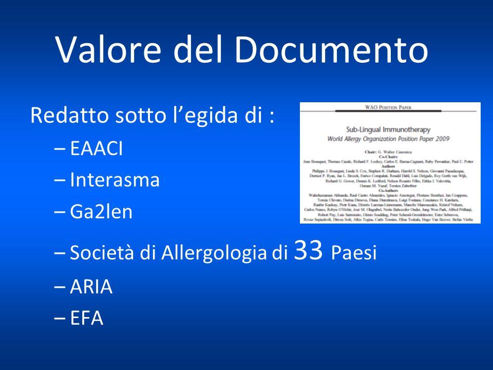 Valore del Documento Redatto sotto l'egida di : –EAACI –Interasma –Ga2len –Società di Allergologia di 33 Paesi –ARIA –EFA